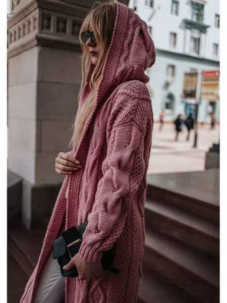 Autumn/winter Solid-colored Hooded Long Cardigan Sweater Hemp Sweater