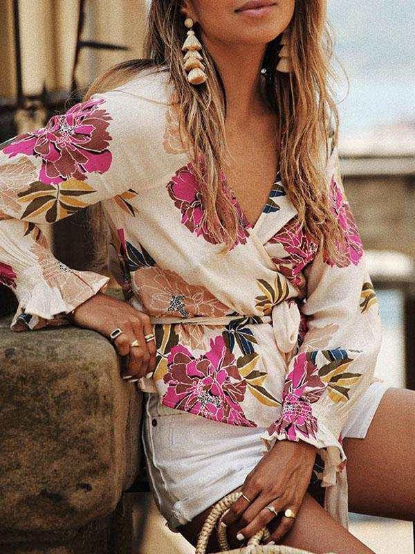 Beautiful Floral-Print Long Sleeve Deep V Neck T-Shirt Tops
