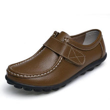 Load image into Gallery viewer, Soft Leather Pure Color Hook Loop Flat Comfortable Loafers