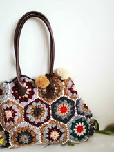 Load image into Gallery viewer, mosaic shoulder handbag hand-woven stitching contrast color limited edition