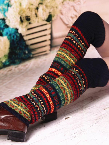 Bohemia Knit Leg Warmers Knitted Over Knee-high Stocking
