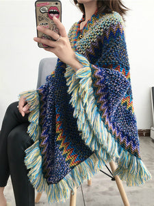 National Hood Shawl Knitted Spring and Summer Jacket Horse Sea Hair Tassel Scarf Coat Women Long Shawl Leisure