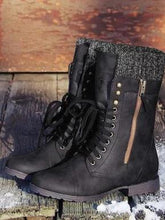 Load image into Gallery viewer, Women's Vintage Knitting Boots Mid Calf Boots