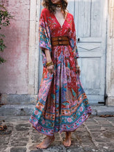 Load image into Gallery viewer, Bohemian Maxi Lotus Print V-Neck Long Dress
