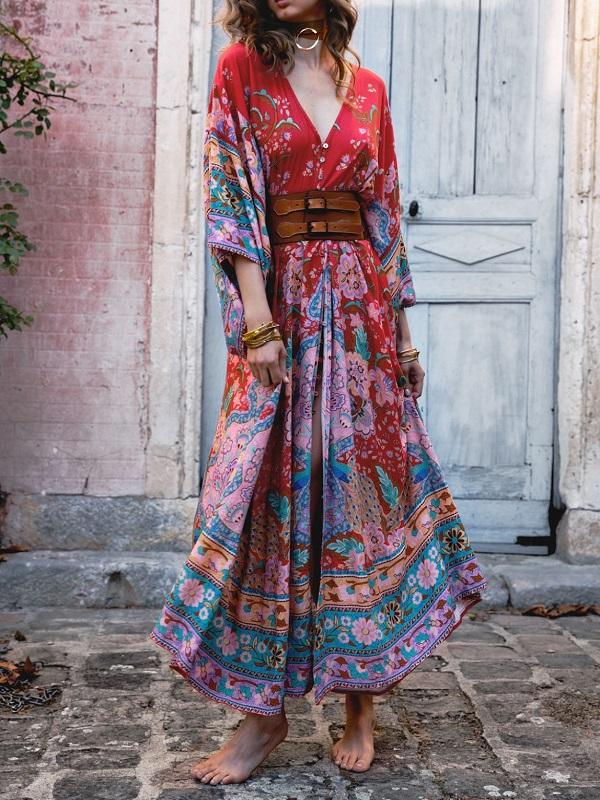 Bohemian Maxi Lotus Print V-Neck Long Dress