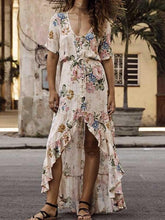Load image into Gallery viewer, Boho Floral Fuffles V-neck Maxi Buttons Dress