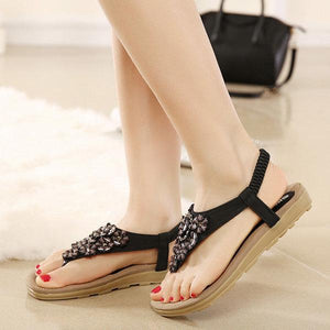 Bohemia Floral Bead Crystal Slip On Elastic Flat Beach Sandals