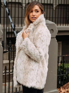 Fluffy Solid Colors Faux Fur Coat Outwears