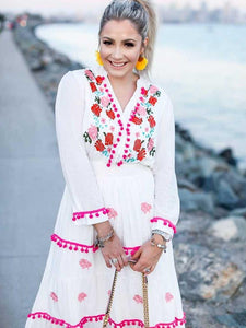 Floral Embroidered Hippie White Long Sleeve Pompom Maxi Dress