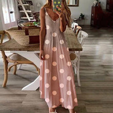 Load image into Gallery viewer, Women Sling Vintage Dot Printed V neck Loose Beach Sleeveless Long Dresses