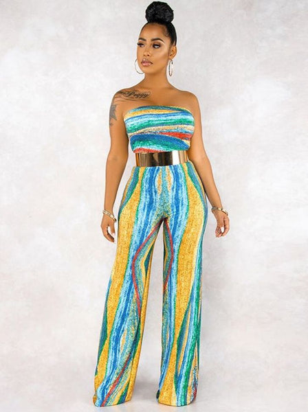 Women's Printed Tie Color Tube Top Strapless High-waisted Flared Pants