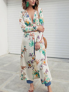 Sexy Boho Deep V Neck Floral Printed Long Sleeves Dress