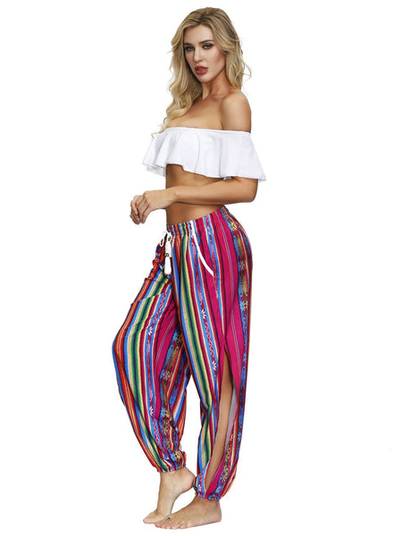 Star Digital Printing Women's Drawstring Side Fork Casual Trousers Loose Waist Foot Light Cage Pants 14