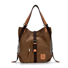 Load image into Gallery viewer, Women Canvas Casual Multifunctional Microfiber Leather Large Capacity Handbag Shoulder Bags Backpack