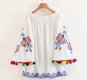 Pom Pom Off Shoulder Long Sleeve Embroidery Summer Mini Dress