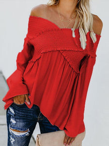 Sexy Off Shoulder Long Sleeves Solid Color Blouse Tops