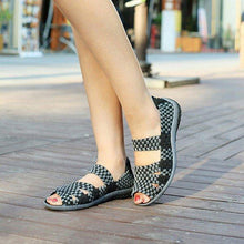 Load image into Gallery viewer, Handmade Knitting Hollow Out Breathable Peep Toe Slip On Platform Shake Shoes