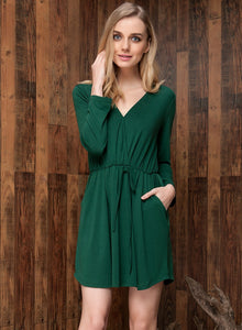 Simple Cute Deep V Elastic Waist Featuring Simple Color Dress