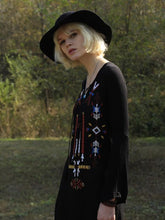 Load image into Gallery viewer, Bohemia Embroidery Long Sleeve Side Split Maxi Dress