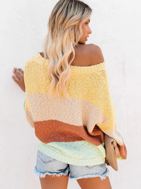 Knitting Sweet Four-color Mosaic Sweater