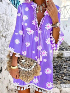 Summer New Style Printed Daisy Ruffled Fringed V-neck Dress