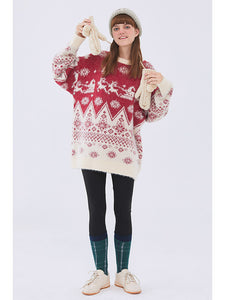Loose Casual Couple Sweater Pullover Long Sleeve Korean Christmas Cartoon Sweater