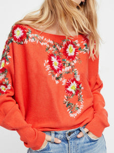Bohemian national style crew neck flower embroidery thread loose sweater coat