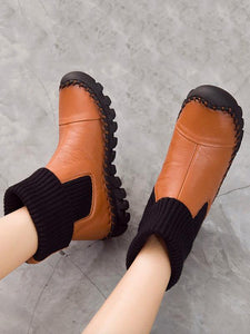 Winter Causal Genuine Leather Mid Calf Flat Boots