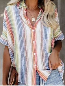 Fashion Casual Color Striped Shirt Button Short Sleeve Shirt