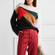 Load image into Gallery viewer, Casual Autumn Long Sleeve Loose Contrast Color Knit Sweater