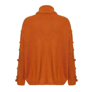 Solid Color Turtleneck Knitted Pullover Sweater