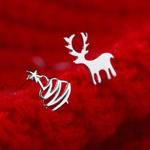 Load image into Gallery viewer, Cute Deer Christmas Tree Sliver Color Stud Earrings