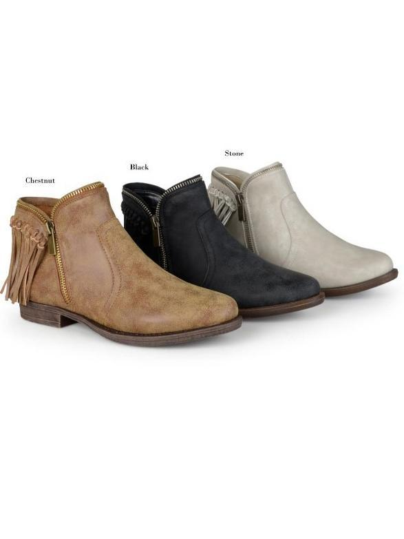 Women s Tassels Low Heel Side Zipper Boots