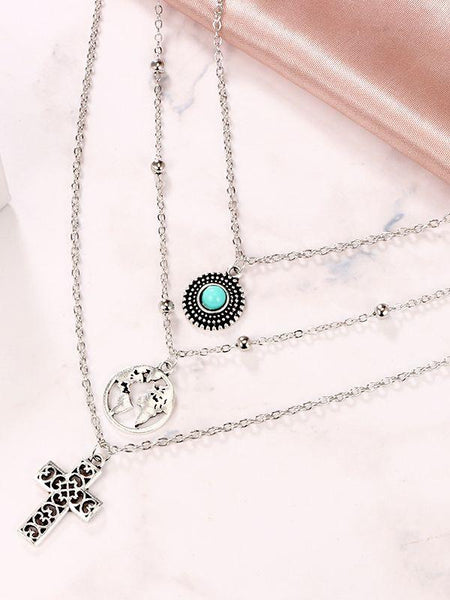 Personality Cross World Map Turquoise Combination Three-tier Necklace