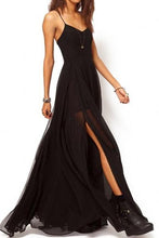 Load image into Gallery viewer, Intellectuality High Waist Strap Chiffon Maxi Dress