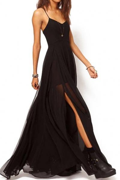 Intellectuality High Waist Strap Chiffon Maxi Dress