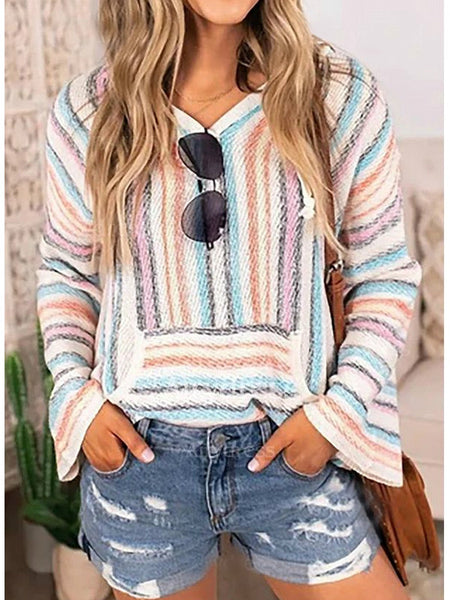 Hooded Pullover Sweater Color Stripe Sweater