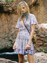 Load image into Gallery viewer, Bohemian print high waist lace up dress