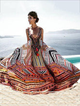 Load image into Gallery viewer, Bohemia Print V-neck Straps Maxi Dress
