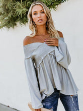 Load image into Gallery viewer, Sexy Off Shoulder Long Sleeves Solid Color Blouse Tops