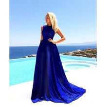 Load image into Gallery viewer, Blue Round Neck Sleeveless Evening Long Dress
