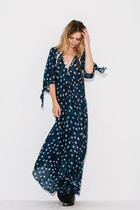 Printed Dots Bohemian Vacation V-neck Cropped Sleeve Beach Long Dress