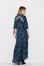 Load image into Gallery viewer, Printed Dots Bohemian Vacation V-neck Cropped Sleeve Beach Long Dress