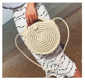 Beach Women s Shoulder Crossbody Round Holiday Weaving Bag