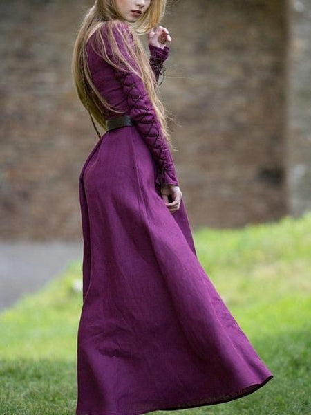 Halloween Solid Color Long Sleeve Straps Round Neck Medieval Retro Dress