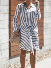 Load image into Gallery viewer, Striped Long Sleeve Knotted T-shirt Mini Dress