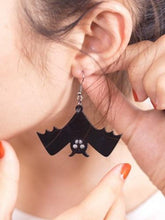 Load image into Gallery viewer, Retro Fashion Halloween Black Bat Hook Earring Necklace