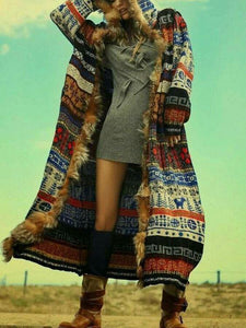 Hooded Long Knit Floral Casual Loose Cardigan Outwear