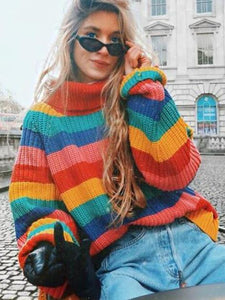 Rainbow Turtleneck Winter Jumpers Knitted Striped Oversize Pullover Sweater