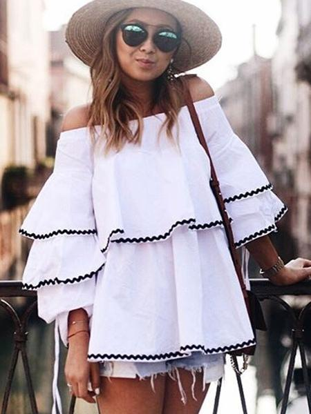 Sexy Off The Shoulder Multi-layer Ruffled Shirt Top